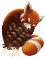 RedPanda haz Pinecone by SHARK-E