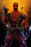 Deadpool Close Up Inked By Tyndallsquest-Colored by royhobbitz