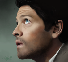 Castiel  digital drawing by PinkBucky