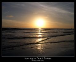 Huntington Beach Sunset by strangledbyart