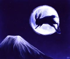 hare in the moon by tigrin