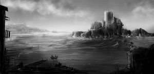Chateau d'If Prison Grayscale by Andreagoh