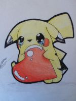 Pikachu's heart traditional by Lovelessdeception