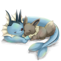 Eevee and Vaporeon by miri-kun