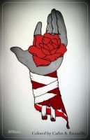 The Mummy's Bleeding Hand With Red Rose Tattoo by CarlosAE