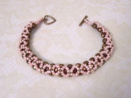 Pink and bronze crossweave bracelet by asukouenn