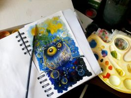 Owl sketch in my notebook by bemain