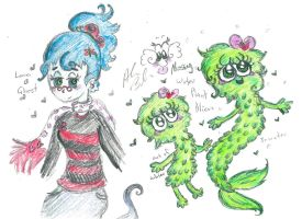 messing drawings of Mosy alien and Lan B ghost by Kittychan2005