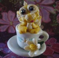 polymer clay teacup dragon sun by crazylittlecritters