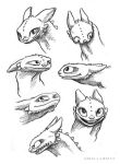 Toothless Sketches 2 by AriellaMay
