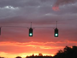 Sunsets and Traffic Lights by KageCat34