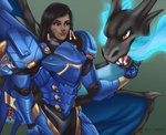 Pharah and Charizard by SilverSkittle