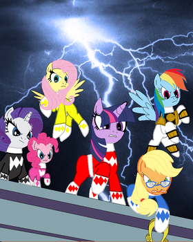 Mighty Morphin Power Ponies ready for action by cam-and-sister-paint