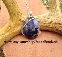 Tiffany stone pendant wire wrapped in silver by Stone-Pendants