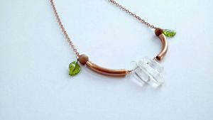 Clear Quartz and Copper Necklace by cranegoose