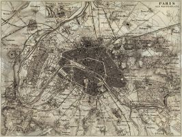 A map of Paris, France made prior to 1851 by reciii