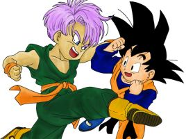 Goten and Trunks sparring by Jssxxa