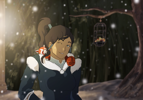 Korra and Pabu by Aki-the-wolf
