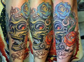 skull colors tattoo by gettattoo