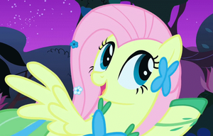Fluttershy Gala Garden (animated .gif) by Element0fKindness