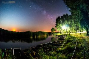The rising moon and the Milky Way by NorbertKocsis