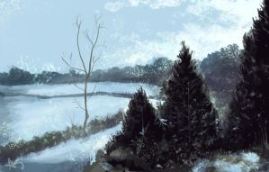 Winter Scene - Speed painting by bananaboo2