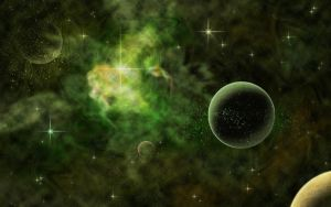 Green and Gold Galaxy by Zulma-san