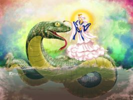 Guan Yin blessing Water Snake by whiteguardian