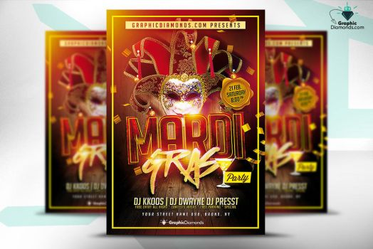 Mardi Gras Party Flyer PSD Template by GraphicDiamonds