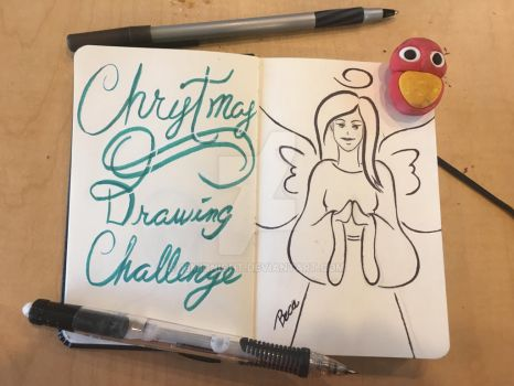 Christmas drawing Challenge 1: Christmas angel by 13Midnight