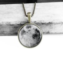 Antique Bronze Vintage Resin Moon Pendant Necklace by crystaland