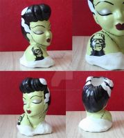 Close-up of the Tattooed Bride of Frankenstein by hellinahandbag