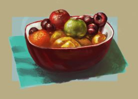 Fruit bowl study by RedPaints