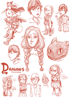 Dragons- Sketch Sheet by Artemismoon12