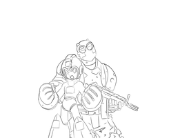Rock and Robo Lineart by StormbringerFiM