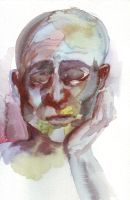 bald watercolour guy by Cumino