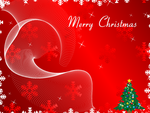 Merry Christmas Greeting Card on Red Background by 123freevectors