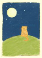 the cat and the moon by Camila-E-Saez
