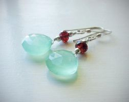 Pale Aqua Chalcedony and Garnet Earrings by QuintessentialArts