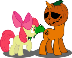 Pumpkin Head and Apple Bloom by AgryX