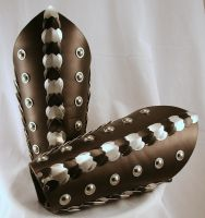 Black Silver Dragon Scaled Leather Bracers by ArmouredWolf907