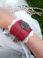 Make Me Forget Victorian Steampunk Cuff Bracelet by paradiseshoretwins