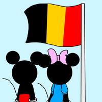 Mickey and Minnie looking at Flag of Belgium by MarcosPower1996