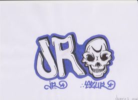 JR graffiti skull by jirjirjir
