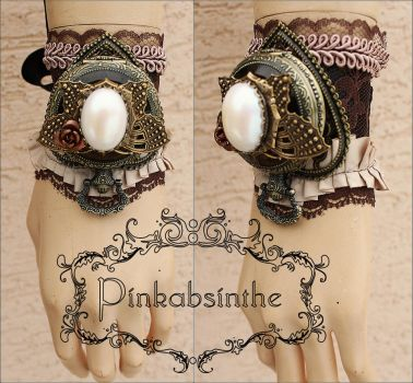 Pearl butterfly watch cuff by Pinkabsinthe