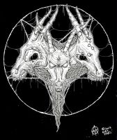 goat head pentagram by ayillustrations