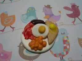 Cute clay fried breakfast charm! by AliceCharms