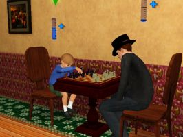 PL Sims 3 - Playing chess by kenabe