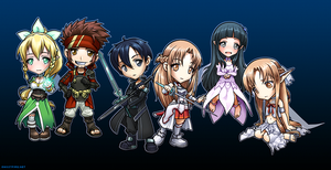 Sword Art Online Chibi Group by ghostfire