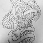 eagle snake tattoo design by thirteen7s